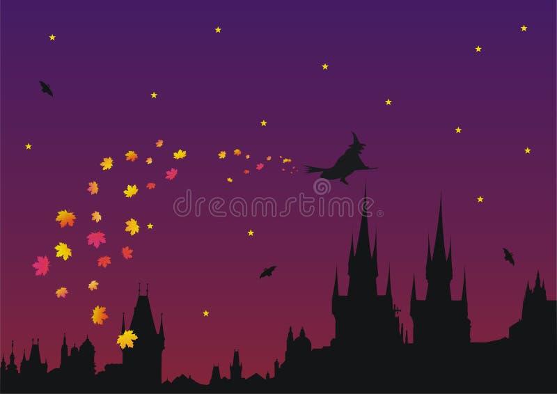 Veille de la toussaint dans la ville gothique illustration de vecteur