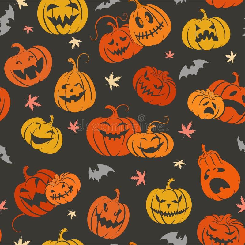Veille de la toussaint Ensemble de potiron pour Halloween Configuration color?e sans joint illustration stock