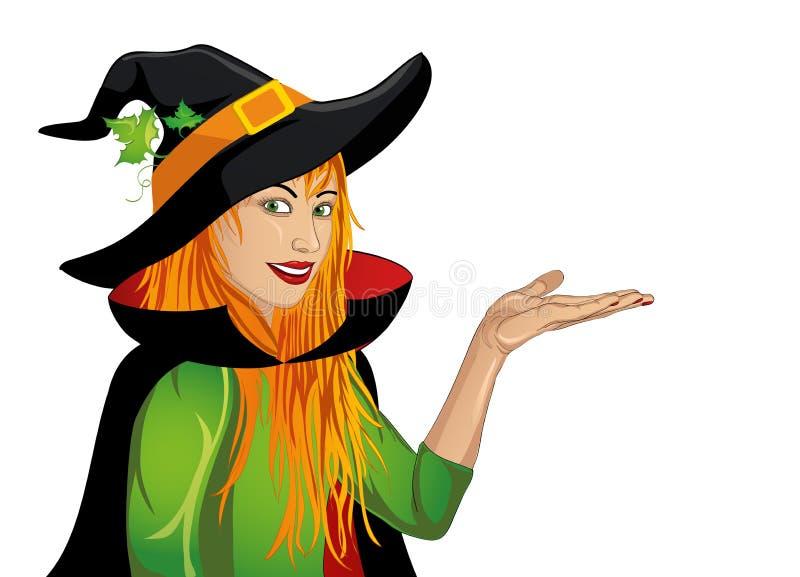 Veille de la toussaint La femme heureuse dans le chapeau et la sorcière costument montrer un geste illustration stock