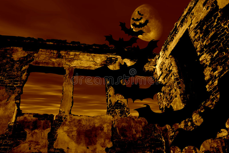 Veille de la toussaint heureuse. 'bat' volent au-dessus de la vieille ruine illustration stock