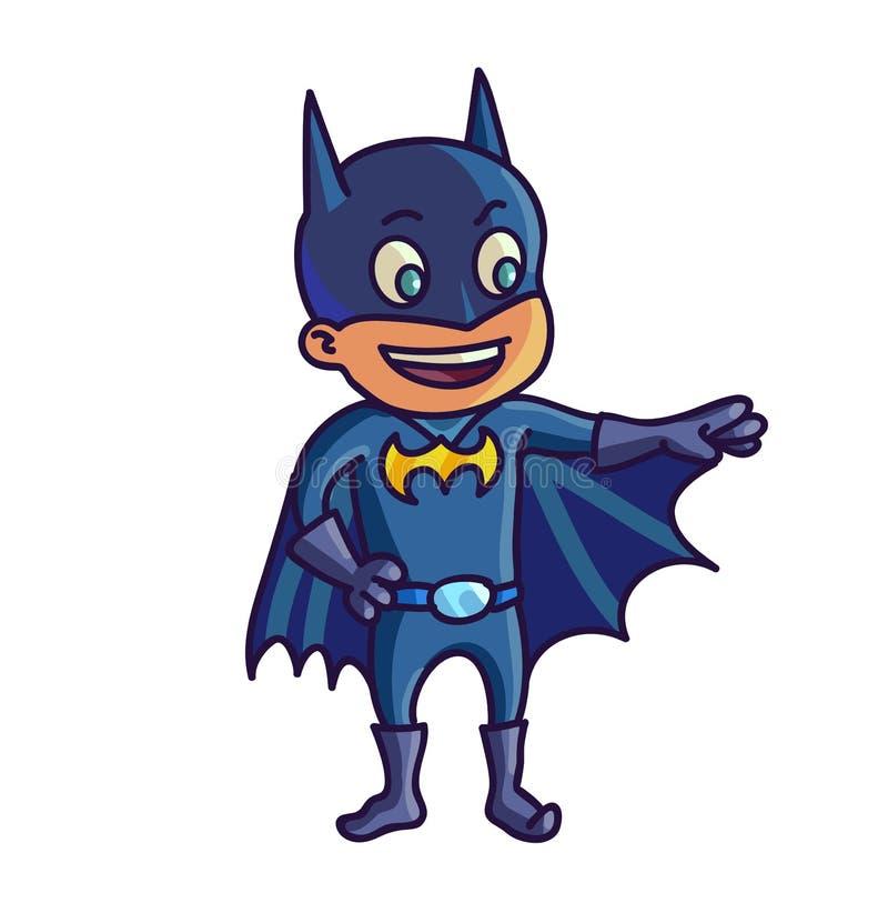Veille de la toussaint heureuse Enfant mignon de bande dessinée dans le collaborateur personnel de costume illustration de vecteur