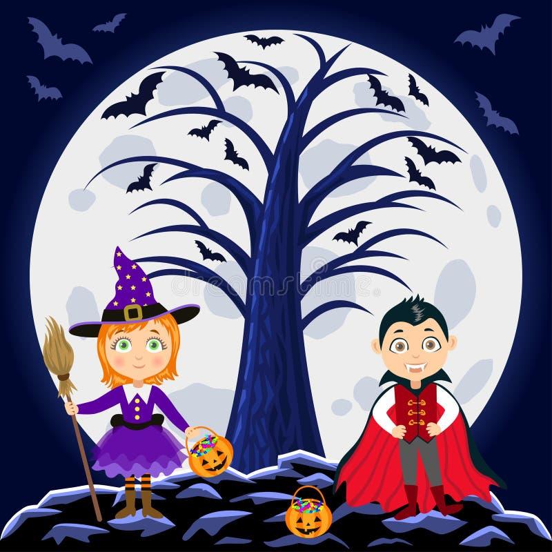 Veille de la toussaint heureuse Enfants dans des costumes de Halloween illustration de vecteur