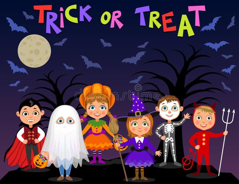 Veille de la toussaint heureuse Enfants dans des costumes de Halloween illustration stock