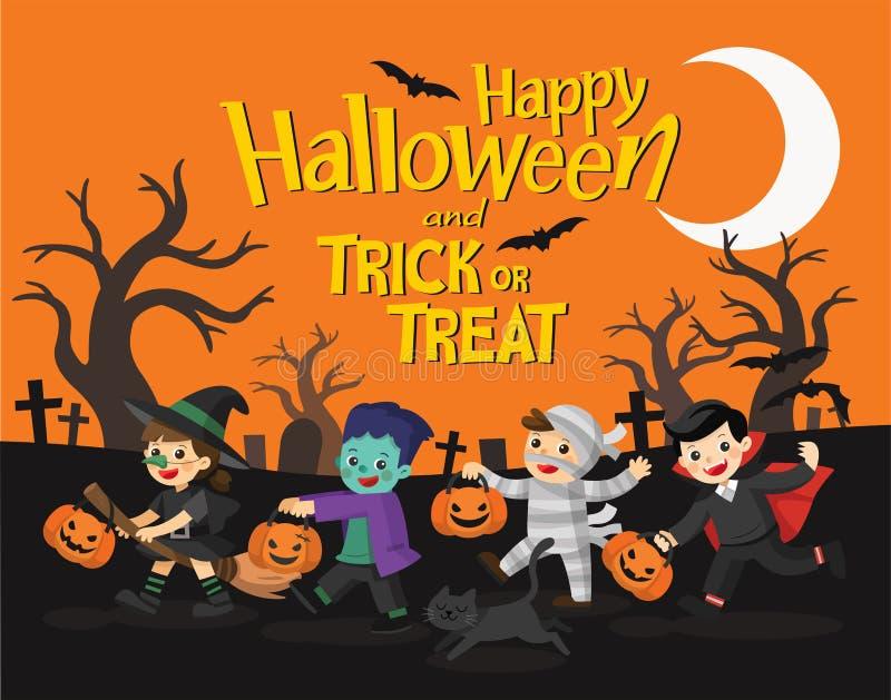 Veille de la toussaint heureuse Enfants habillés dans Halloween costumé illustration stock
