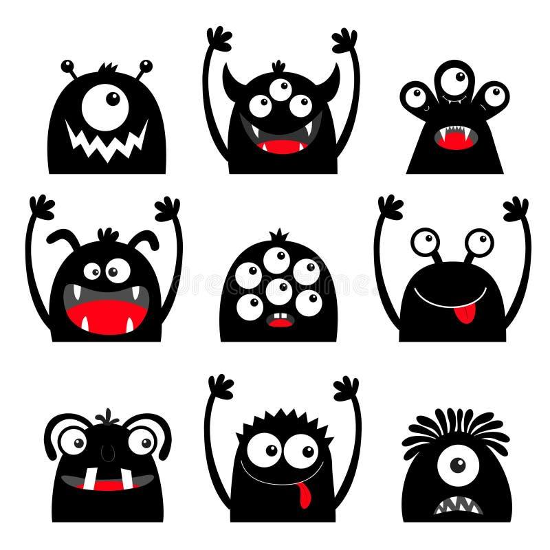 Veille de la toussaint heureuse Ensemble d'ic?ne de monstre Visage principal de silhouette noire Yeux, langue, croc de dent, main illustration stock