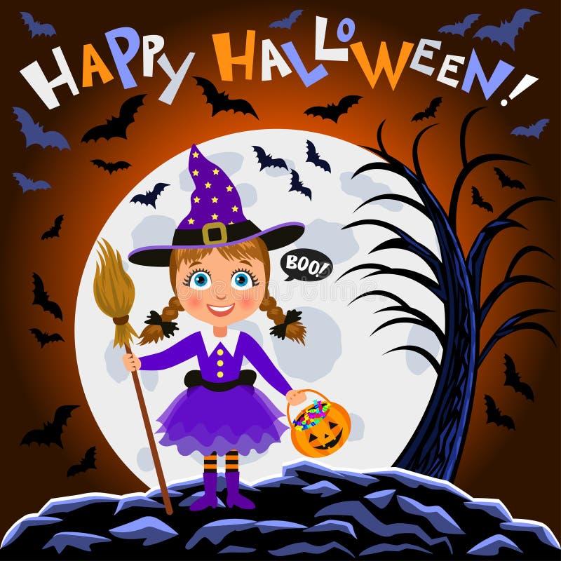 Veille de la toussaint heureuse Fille dans le costume de Halloween sur le fond de lune illustration de vecteur