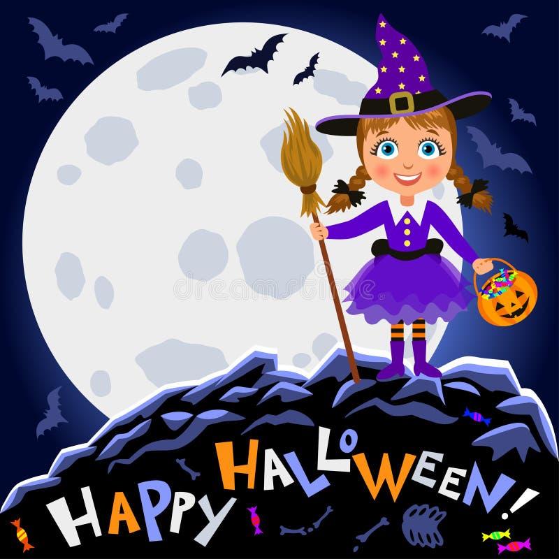 Veille de la toussaint heureuse Fille dans le costume de Halloween sur le fond de lune illustration libre de droits