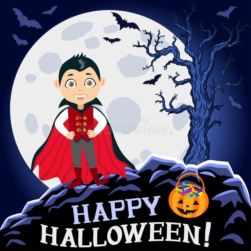 Veille de la toussaint heureuse Garçon dans le costume de Veille de la toussaint Vampire Dracula illustration stock