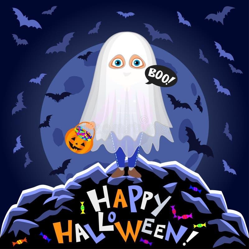 Veille de la toussaint heureuse Garçon dans le costume de Halloween sur le fond de lune illustration stock