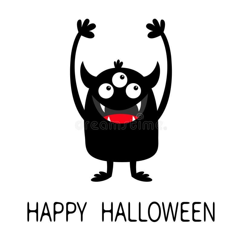 Veille de la toussaint heureuse Ic?ne de silhouette de noir de monstre Trois yeux, croc de dents, klaxons, huent des mains  Carac illustration stock