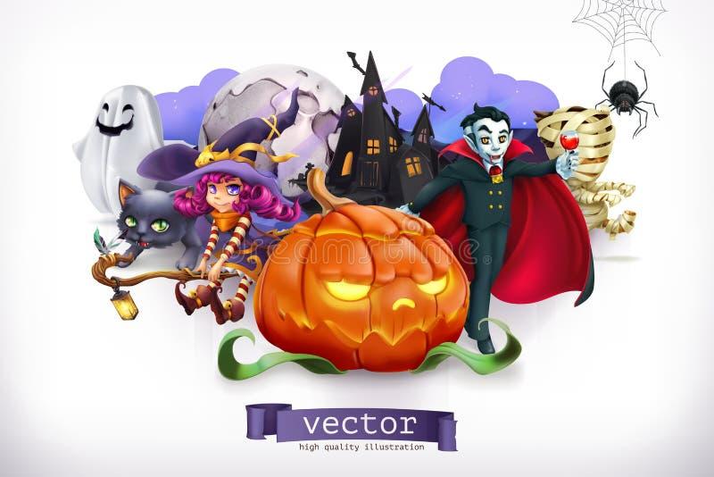 Veille de la toussaint heureuse illustration du vecteur 3d illustration de vecteur