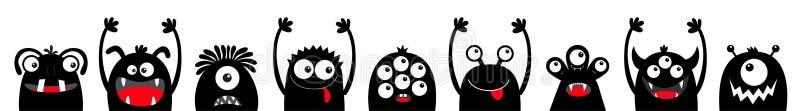 Veille de la toussaint heureuse Ligne principale d'ensemble d'icône de visage de silhouette de noir de monstre Yeux, langue, croc illustration libre de droits