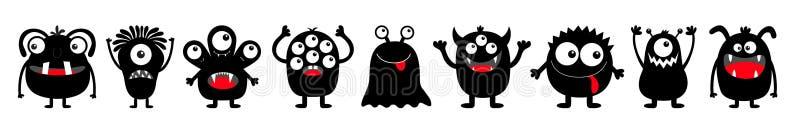 Veille de la toussaint heureuse Ligne ronde noire d'ensemble d'icône de silhouette de monstre Yeux, langue, croc de dent, mains   illustration de vecteur