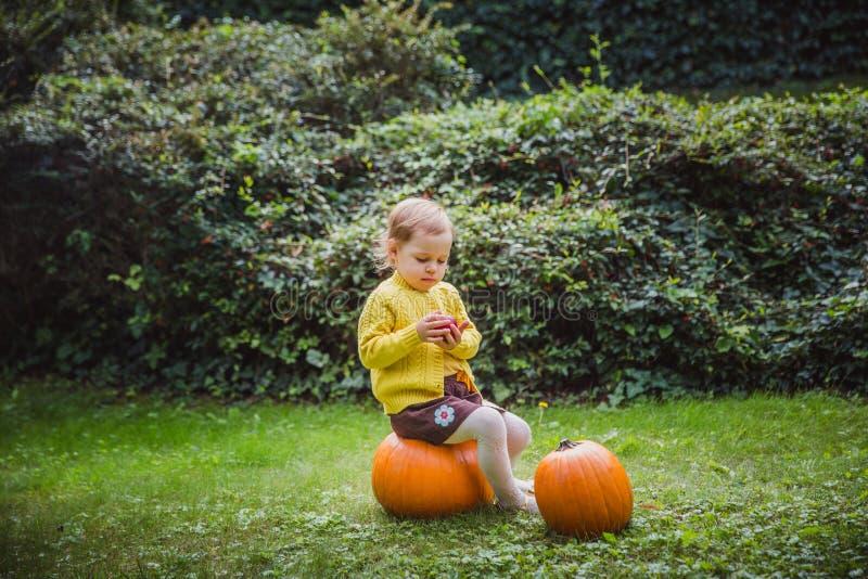 Veille de la toussaint heureuse La petite fille mignonne s'assied sur un potiron et tient une pomme dans sa main photographie stock libre de droits