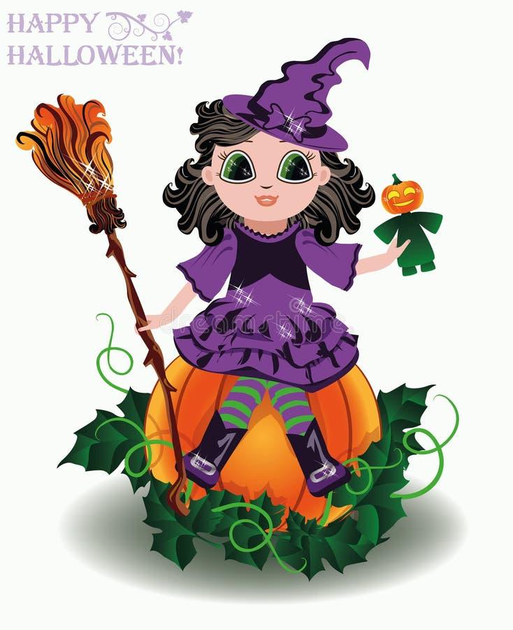 Veille de la toussaint heureuse Petite sorcière mignonne avec la poupée de potiron illustration stock