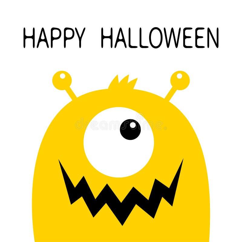 Veille de la toussaint heureuse Silhouette jaune de tête de monstre Un oeil, bouche de croc de dents, klaxons Caract?re dr?le de  illustration stock