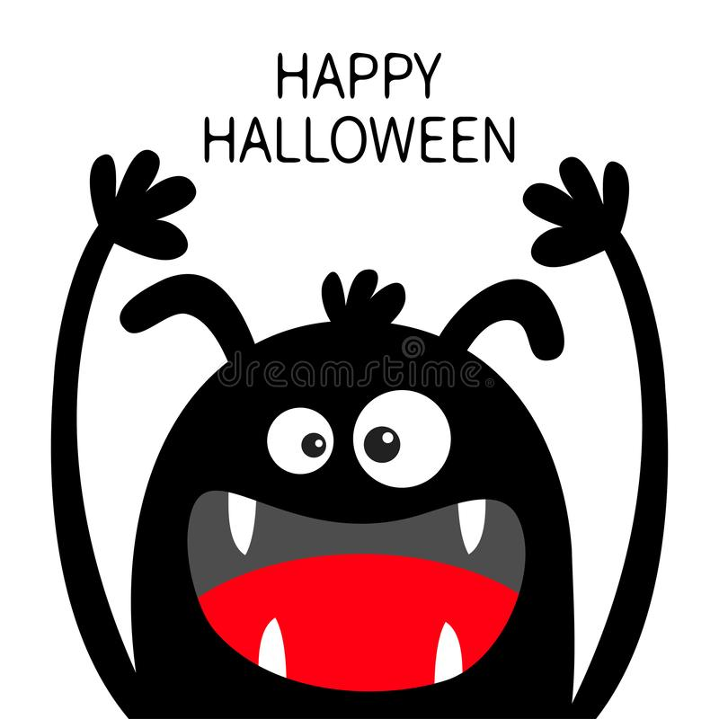 Veille de la toussaint heureuse Silhouette de noir de t?te de monstre Deux yeux, oreilles, croc de dents, langue, mains  Caract?r illustration de vecteur
