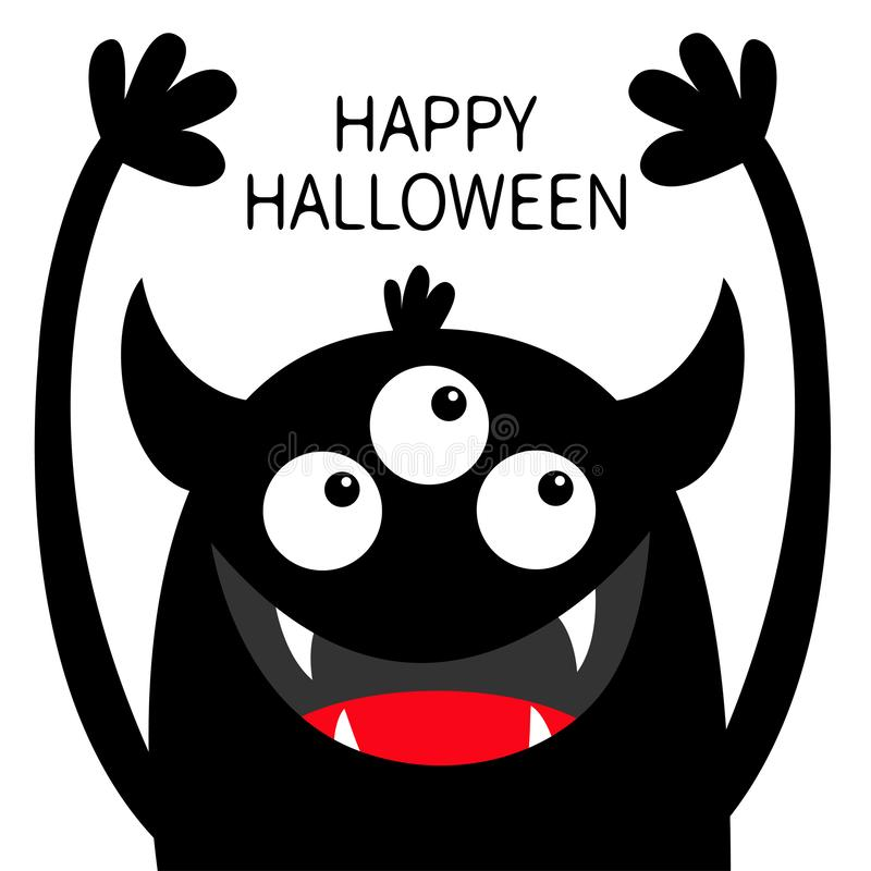 Veille de la toussaint heureuse Silhouette de noir de t?te de monstre Trois yeux, croc de dents, klaxons, mains  Caract?re dr?le  illustration libre de droits