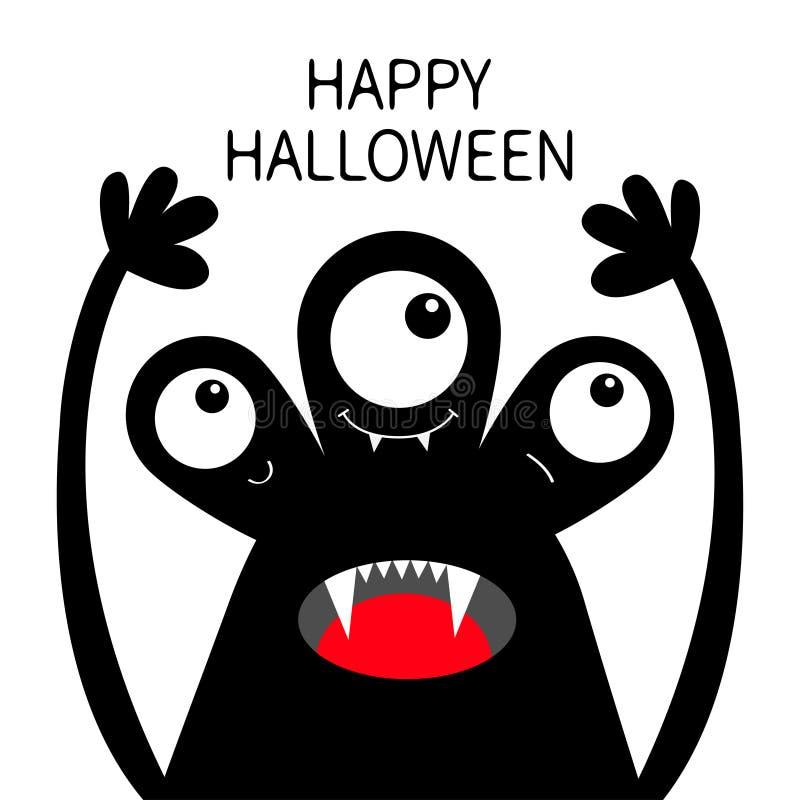 Veille de la toussaint heureuse Silhouette de noir de t?te de monstre Trois yeux, croc de dents, langue, mains  Caract?re dr?le d illustration libre de droits