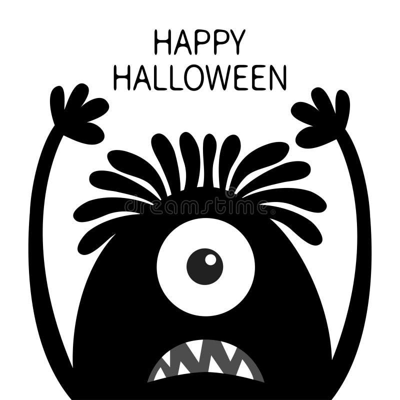 Veille de la toussaint heureuse Silhouette de noir de t?te de monstre Un oeil, cheveux, croc de dents, langue, mains  Caract?re d illustration stock
