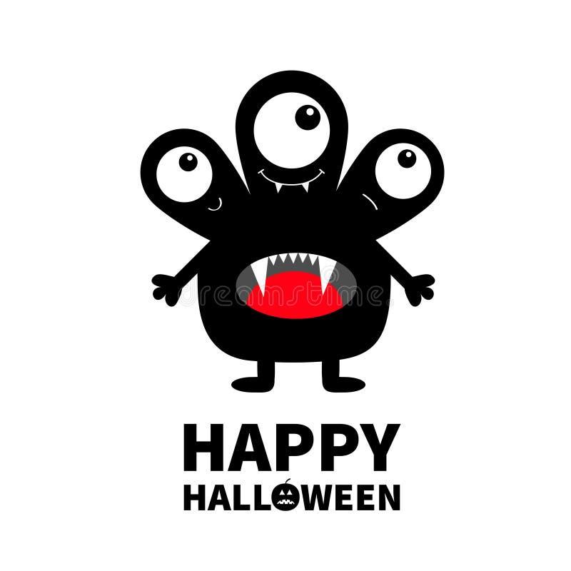 Veille de la toussaint heureuse Silhouette noire de monstre Trois yeux, langue de dent de croc, mains Caractère drôle effrayant d illustration de vecteur