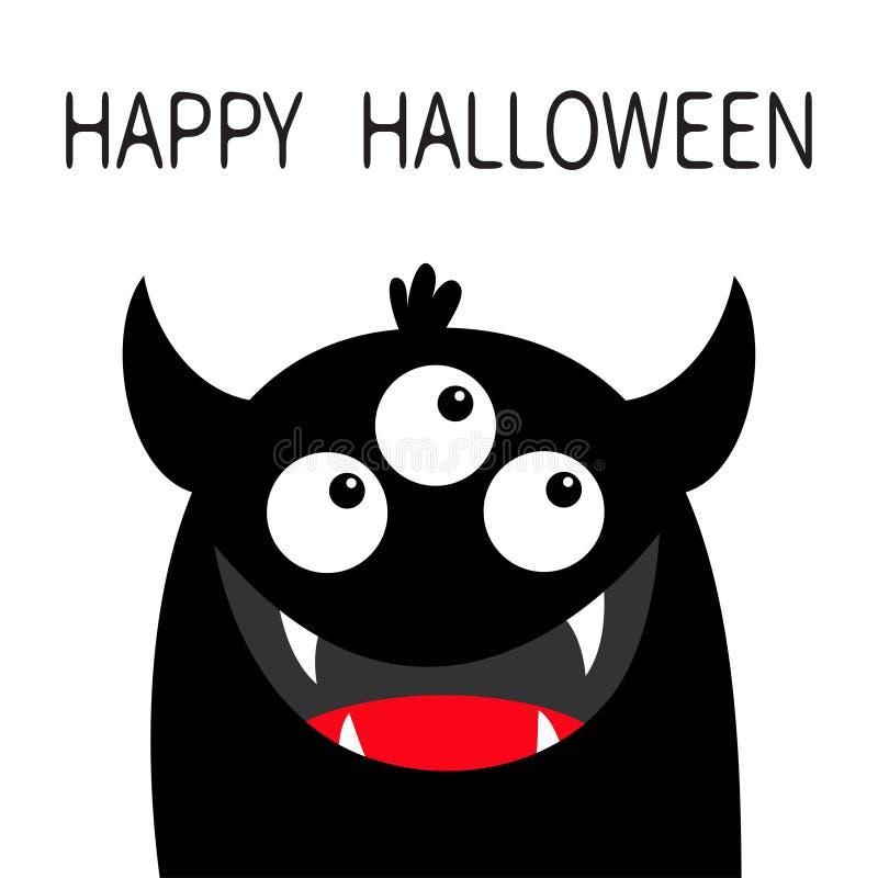 Veille de la toussaint heureuse Silhouette principale de noir de visage de monstre Trois yeux, sourire de croc de dents, klaxons  illustration de vecteur