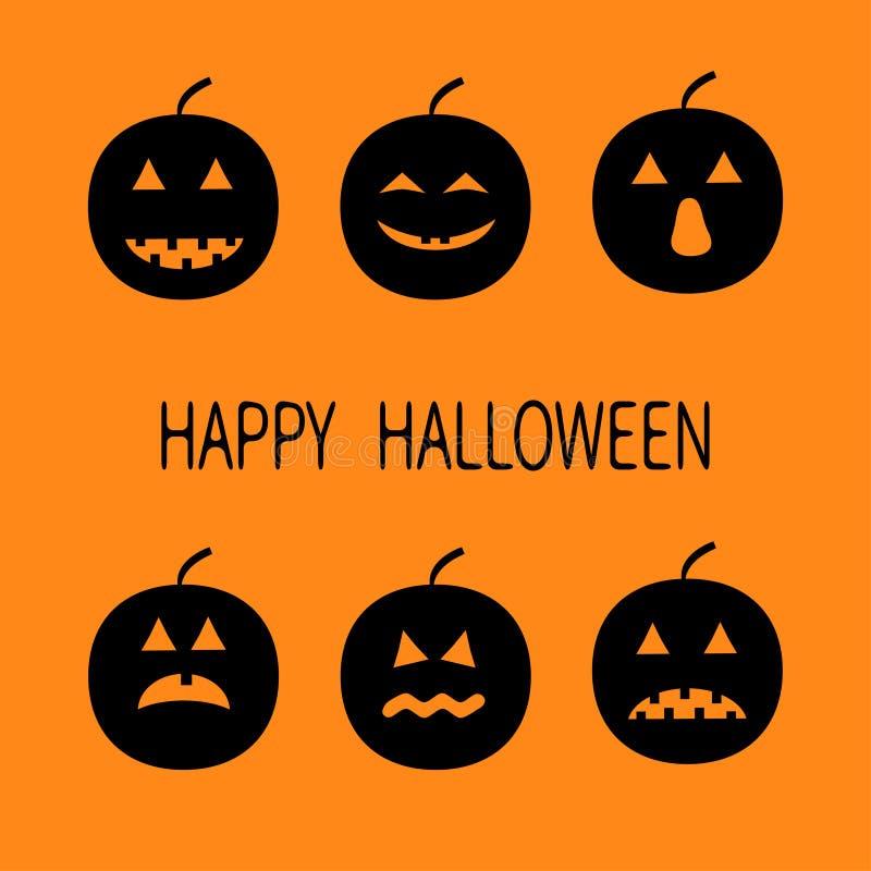 Veille de la toussaint heureuse Six ensembles tristes de sourire drôles de potiron de silhouette noire Différentes émotions Carac illustration stock