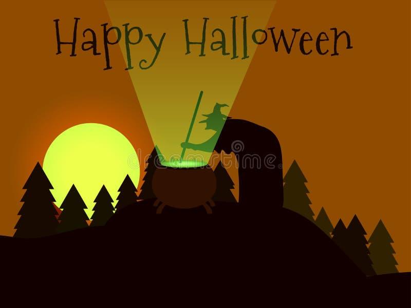 Veille de la toussaint heureuse La sorcière brasse un breuvage magique dans la forêt illustration libre de droits