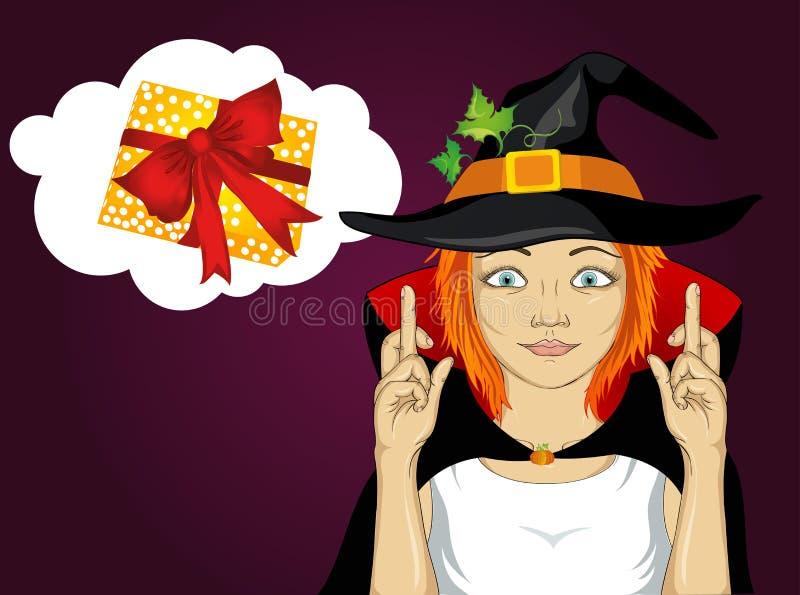 Veille de la toussaint Jeune femme dans le croisement de costume de chapeau et de sorcière illustration libre de droits