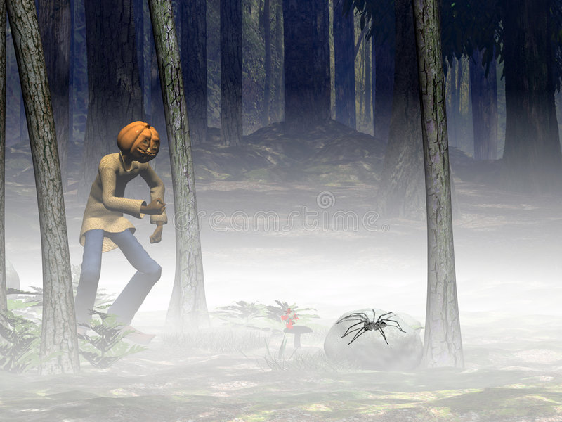 Veille de la toussaint, plot de potiron avec l'araignée. illustration stock