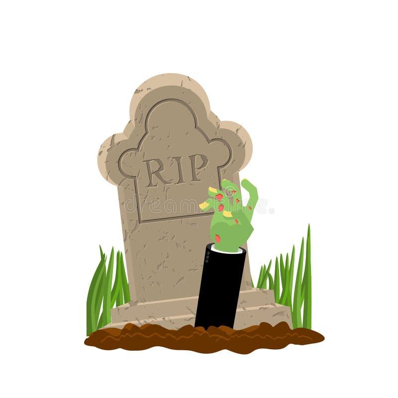 Veille de la toussaint Tombe et main de zombi Homme mort de pierre tombale et de bras illustration libre de droits