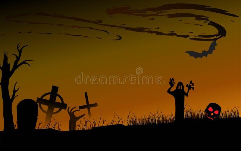 Veille de la toussaint tombe? potiron l'épouvantail que principal attend illustration libre de droits