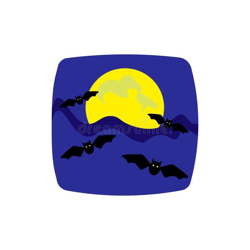 Veille de la toussaint Vue de nuit de pleine lune rougeoyante et de battes volantes cartoon Illustration de vecteur illustration libre de droits