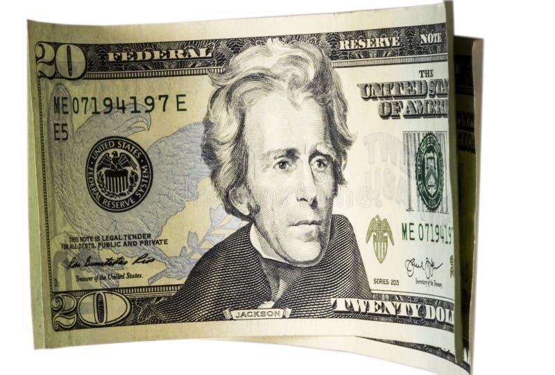 Veinte billetes de dólar aislados en blanco fotos de archivo