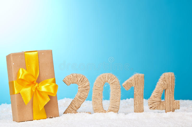 Veinte-catorceno Año Nuevo de los dígitos del tejido imagenes de archivo