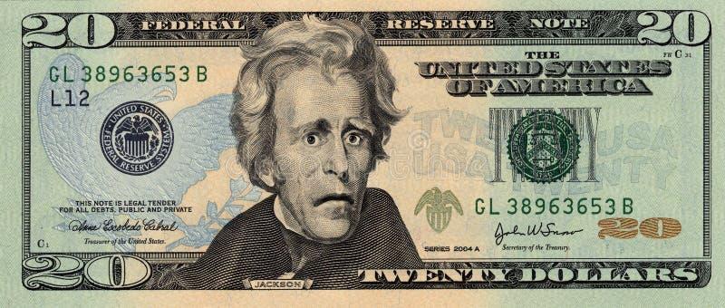 Veinte dólares Bill preocupante imagenes de archivo