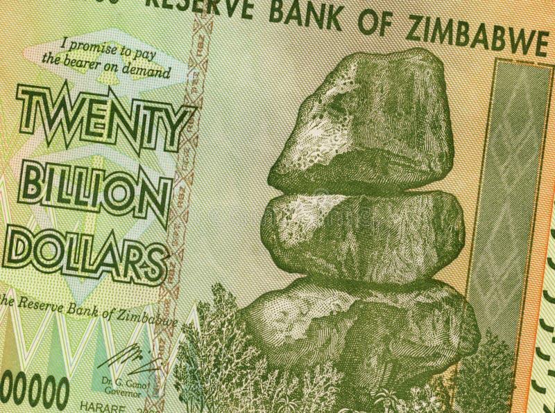 Veinte mil millones dólares - Zimbabwe foto de archivo