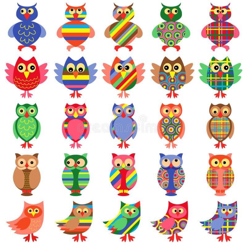 Veinticinco búhos coloridos de diversión libre illustration