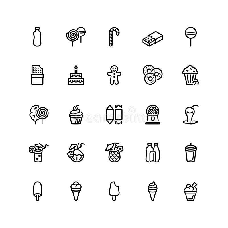 Veinticinco iconos planos de la comida ilustración del vector