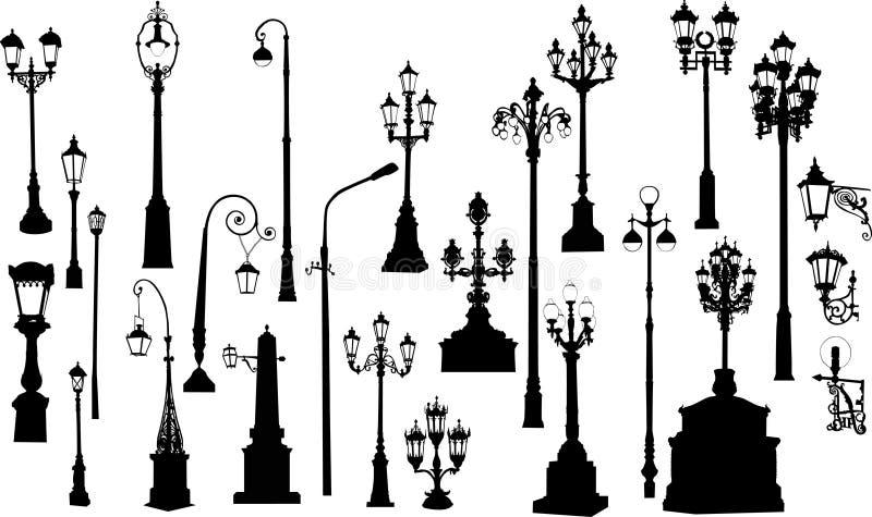 Veinticinco lámparas de calle stock de ilustración