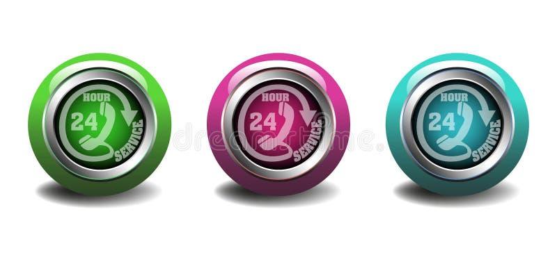 Veinticuatro botones del servicio de la hora ilustración del vector