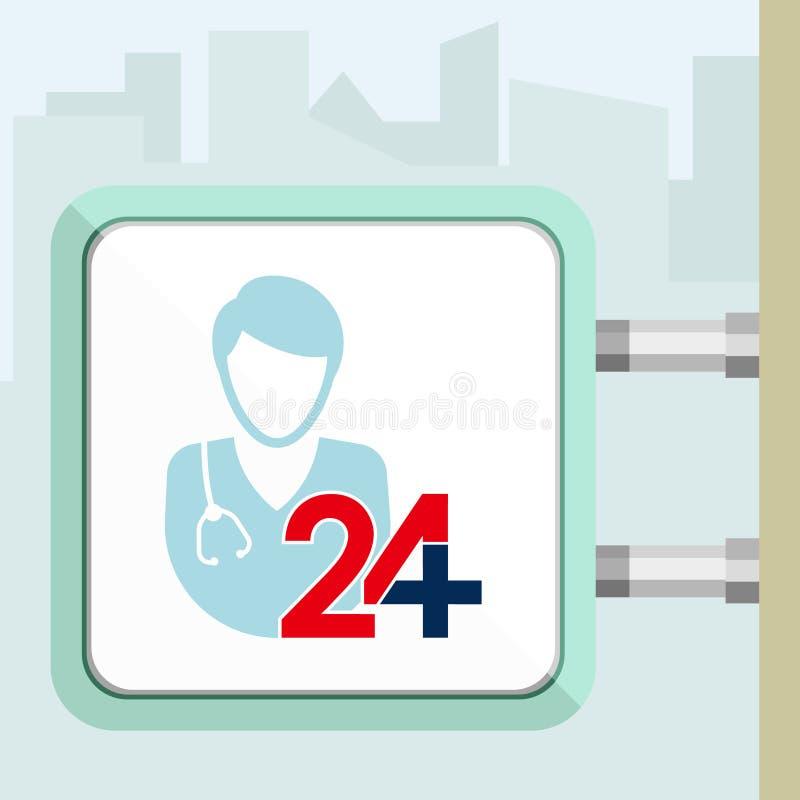 Veinticuatro horas de ayuda médica disponible Doctor, hombre Concepto del letrero foto de archivo libre de regalías