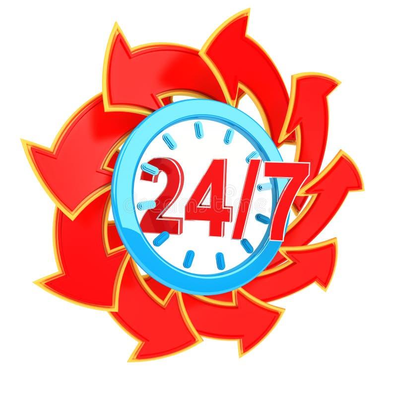 Veinticuatro horas mantienen 7 días a la semana la muestra ilustración del vector