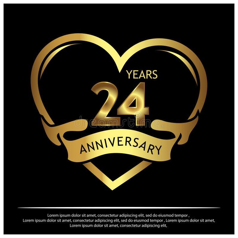 Veinticuatro a?os de aniversario de oro dise?o de la plantilla del aniversario para la web, juego, cartel creativo, folleto, pros stock de ilustración
