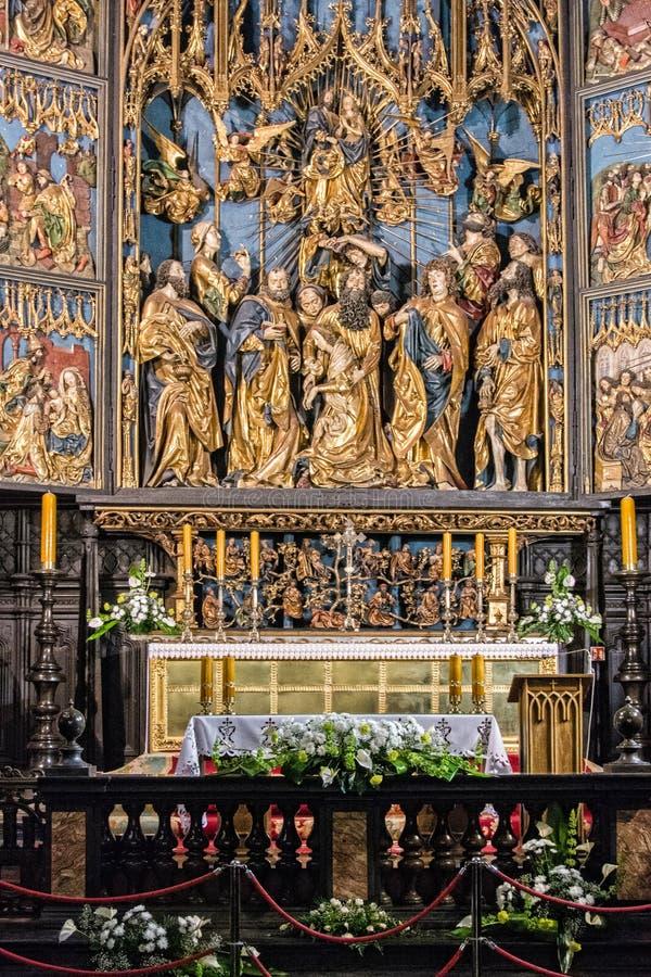 Veit Stoss Altar, basilica Cracovia del ` s di St Mary fotografia stock