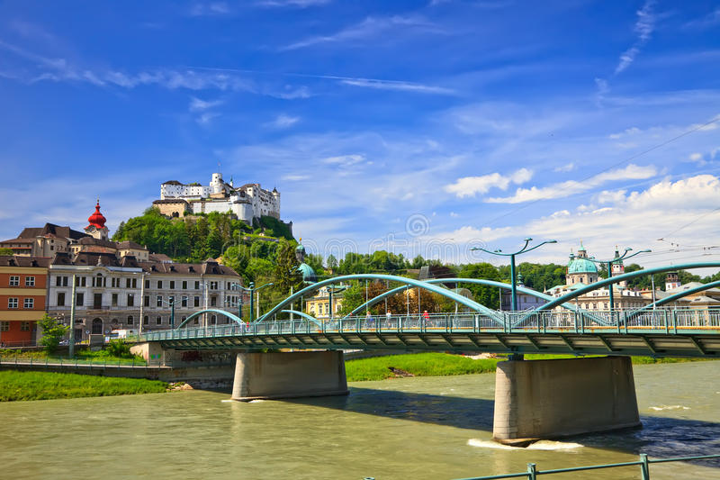 Veiw auf Hohensalzburg Festung lizenzfreies stockfoto