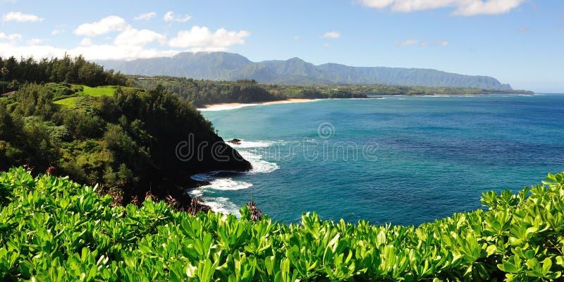 Veiw dal faro di Kilauea su Kauai, Hawai immagini stock libere da diritti