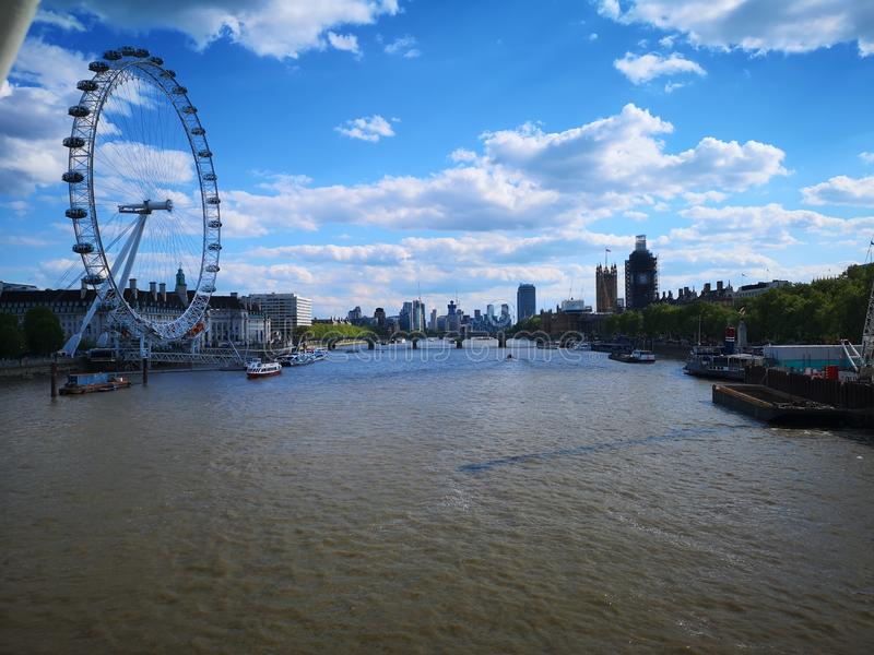 Veiw del horizonte de London Eye foto de archivo libre de regalías