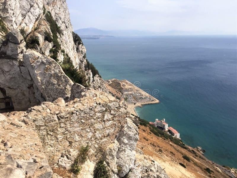 veiw nach Gibraltar-Felsen und Marokko stockfoto