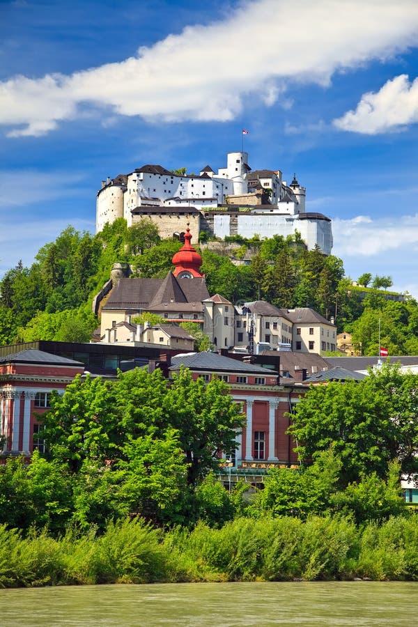 Veiw sur la forteresse de Hohensalzburg, Salzbourg images stock